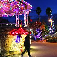 Dusky blue fills the sky above Watsonville's Main Plaza as holiday lights shine along Main Street. <br /> Photo by Shmuel Thaler <br /> shmuel_thaler@yahoo.com www.shmuelthaler.com