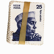 Stamps held by rubber band from India