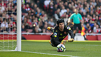 Football - 2016 / 2017 Premier League - Arsenal vs. Manchester United<br /> <br /> Petr Cech of Arsenal watches as his parry goes out for a corner to Manchester United at The Emirates.<br /> <br /> COLORSPORT/DANIEL BEARHAM