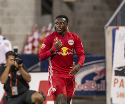 September 22, 2018 - Harrison, New Jersey, United States - Derrick Etienne Jr (7) of New York Red Bulls celebrates scoring goal during regular MLS game against Toronto FC at Red Bull Arena Red Bulls won 2 - 0 (Credit Image: © Lev Radin/Pacific Press via ZUMA Wire)