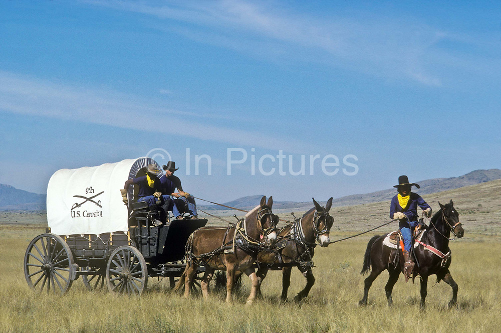 """A group of young juvenile (criminal)  offenders participate in an """"open prison"""" rehabilitation programme designed to build self esteem, courage, purposeful lives, seen here on horse back  and wagon's crossing a Nevada landscape. They are known as """"Buffalo soldiers"""" and use the same clothing as Gral Custer and his cavalry used in the American civil war. Most of  the offenders are black, USA. This programme runs by the name of Vision Quest's Wagon Train."""