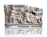 2nd Cent. AD Roman relief sculpture depicting the struggle of Athena ( the goddess of wisdom, skill & warfare) fighting the Gigantes ( Giants) . From Aphrodisias (Geyne, Ayden). Istanbul Archaeological Museum, Turkey, Inv. 1613aT , Cat. Mendel 512. .<br /> <br /> If you prefer to buy from our ALAMY STOCK LIBRARY page at https://www.alamy.com/portfolio/paul-williams-funkystock/greco-roman-sculptures.html- Type -    Istanbul    - into LOWER SEARCH WITHIN GALLERY box - Refine search by adding a subject, place, background colour, museum etc.<br /> <br /> Visit our CLASSICAL WORLD HISTORIC SITES PHOTO COLLECTIONS for more photos to download or buy as wall art prints https://funkystock.photoshelter.com/gallery-collection/The-Romans-Art-Artefacts-Antiquities-Historic-Sites-Pictures-Images/C0000r2uLJJo9_s0c