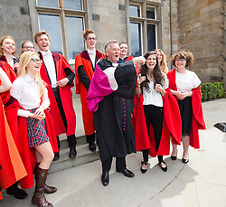 Michael Palin, comedian, broadcaster and writer best known for his work with Monty Python's Flying Circus and Ripping Yarns, in St Salvator's Quadrangle after he received an Honorary Degree at St Andrews University