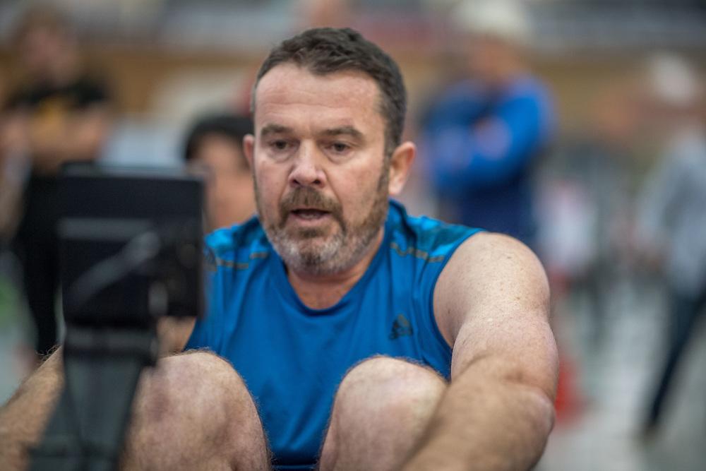 Ben Thornton  MALE HEAVYWEIGHT Masters C 2K Race #1 08:30am<br /> <br /> www.rowingcelebration.com Competing on Concept 2 ergometers at the 2018 NZ Indoor Rowing Championships. Avanti Drome, Cambridge,  Saturday 24 November 2018 © Copyright photo Steve McArthur / @RowingCelebration