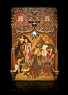 Gothic altarpiece tableau of the Archangel Gabriel  by Joan Mates of Vlafranca de Penedes, circa 1410-1430, tempera and gold leaf on for wood from the church of Santa Maria de Penafel, Alt Penedes, Spain.  National Museum of Catalan Art, Barcelona, Spain, inv no: MNAC  214533. Against a black background. . .<br /> <br /> If you prefer you can also buy from our ALAMY PHOTO LIBRARY  Collection visit : https://www.alamy.com/portfolio/paul-williams-funkystock/gothic-art-antiquities.html  Type -     MANAC    - into the LOWER SEARCH WITHIN GALLERY box. Refine search by adding background colour, place, museum etc<br /> <br /> Visit our MEDIEVAL GOTHIC ART PHOTO COLLECTIONS for more   photos  to download or buy as prints https://funkystock.photoshelter.com/gallery-collection/Medieval-Gothic-Art-Antiquities-Historic-Sites-Pictures-Images-of/C0000gZ8POl_DCqE