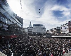April 9, 2017 - Stockholm, Sweden - Stockholm terror attack day 3..Manifestation against terror and violence at Sergels torg in Stockholm, Sweden 2017-04-09..(c) ORRE PONTUS  / Aftonbladet / IBL BildbyrÃ¥....* * * EXPRESSEN OUT * * *....AFTONBLADET / 85527 (Credit Image: © Aftonbladet/IBL via ZUMA Wire)