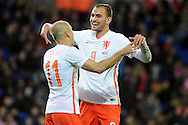 Arjen Robben of Netherlands (11) celebrates after he scores his teams 2nd goal. Vauxhall International football friendly, Wales v The Netherlands at the Cardiff city stadium in Cardiff, South Wales on Friday 13th November 2015. pic by Carl Robertson, Andrew Orchard sports photography.