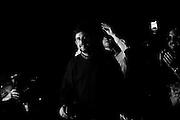 Il regista e attore Nanni Moretti alla chiusura della campagna elettorale del Partito Democratico per le elezioni regionali nel lazio, Roma 22 febbraio 2013. Giacomo Quilici / OneShot