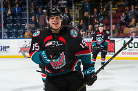 KELOWNA, CANADA - OCTOBER 13:  Dallon Wilton #15 of the Kelowna Rockets skates to the bench to celebrate a third period goal against the Tri-City Americans on October 13, 2018 at Prospera Place in Kelowna, British Columbia, Canada.  (Photo by Marissa Baecker/Shoot the Breeze)  *** Local Caption ***