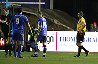 Photo: Paul Greenwood/Sportsbeat Images.<br />Carlisle United v Swindon Town. Coca Cola League 1. 04/12/2007.<br />Swindon's Ben Tozer (L) is red carded by referee Mr M Oliver