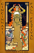 Cincinnati fall festival September 7 to 19 1903.  Poster for the Festival showing a woman seated on a pedestal placing a wreath on her head and wearing art nouveau jewellery; a child-like craftsman musician at foot of pedestal.