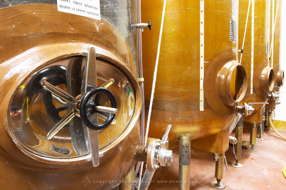 Domaine Mas Cal Demoura, in Jonquieres village. Terrasses de Larzac. Languedoc. Fibreglass vats. Floating top vats. France. Europe.