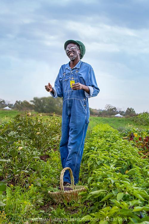 Anan Lololi of the AfriCan Food Basket at their farm plot on the McVean Incubator farm in Brampton, Ontario