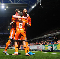 Blackpool's Jay Spearing, centre, celebrates scoring his side's second goal with team-mates Matty Virtue, left, and Joe Nuttall<br /> <br /> Photographer Chris Vaughan/CameraSport<br /> <br /> The EFL Sky Bet League One - Ipswich Town v Blackpool - Saturday 23rd November 2019 - Portman Road - Ipswich<br /> <br /> World Copyright © 2019 CameraSport. All rights reserved. 43 Linden Ave. Countesthorpe. Leicester. England. LE8 5PG - Tel: +44 (0) 116 277 4147 - admin@camerasport.com - www.camerasport.com