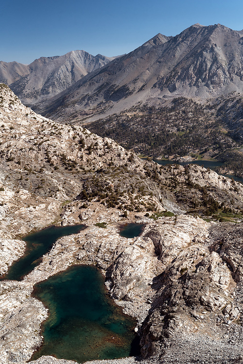 Sixty Lake Basin and the distant Rae Lakes as seen from Glen Pass on the John Muir Trail