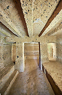 """Interior of an Etruscan """"dado: (dice) tomb known as Tomba Maroi dating form the 7th century BC, Necropoli della Banditaccia, Cerveteri, Italy. A UNESCO World Heritage Site .<br /> <br /> Visit our ETRUSCAN PHOTO COLLECTIONS for more photos to buy as buy as wall art prints https://funkystock.photoshelter.com/gallery-collection/Pictures-Images-of-Etruscan-Historic-Sites-Art-Artefacts-Antiquities/C0000GgxRXWVMLyc"""