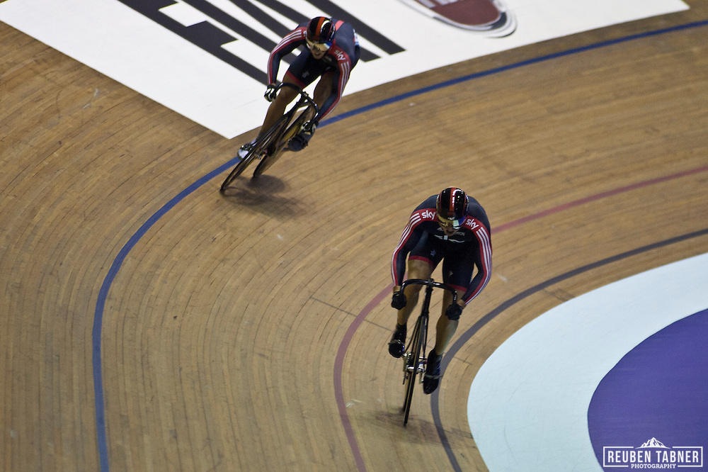 Sir Chris HOY is challanged in heat two of The Men's Sprint, by fellow Sky team mate, Jason KENNY. Kenny took the first race and knocked Hoy out in the second to go in to the final against Frenchman Kévin SIREAU..At the UCI Track Cycling World CUp in Manchester.