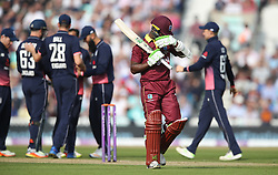 West Indies' Jason Mohammed walks off dejected after getting out for 46 during the Fourth Royal London One Day International at the Kia Oval, London.