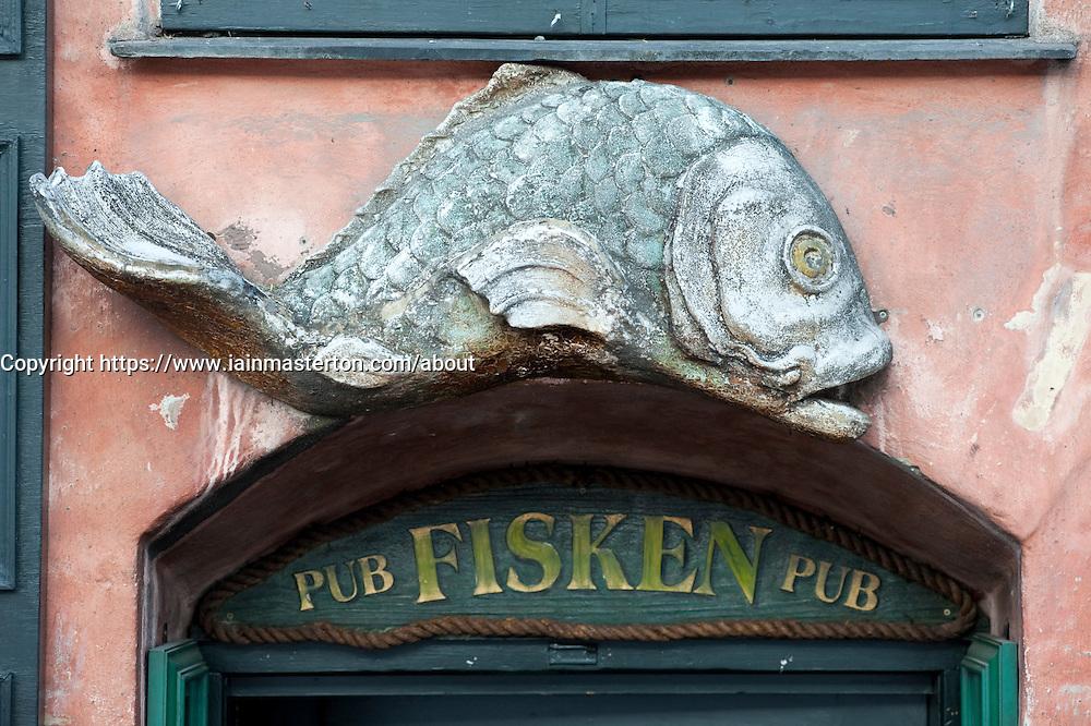 Detail of sign outside bar and restaurant at Nyhavn in Copenhagen Denmark