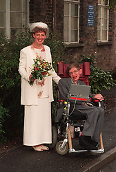 PROFESSOR SCIENTIST STEPHEN HAWKING WHO SUFFERS FROM MOTOR NEURONE DISEASE AT HIS MARRIAGE CEREMONY TO BRIDE NURSE ELAINE MASON AT CAMBRIDGE REGISTRY OFFICE  * 11/11/00  Claims that the world famous scientist Professor Stephen Hawking has been assaulted have been investigated by police, it emerged. Colleagues and friends of the disabled academic are said to have become concerned about a series of mysterious injuries he has receieved and police have been conducting inquiries. It is believed he has visited the accident and emergency department of Addenbrooke's Hospital, near his home in Cambridge, on several occasions with various injuries but has refused to explain how he got them.