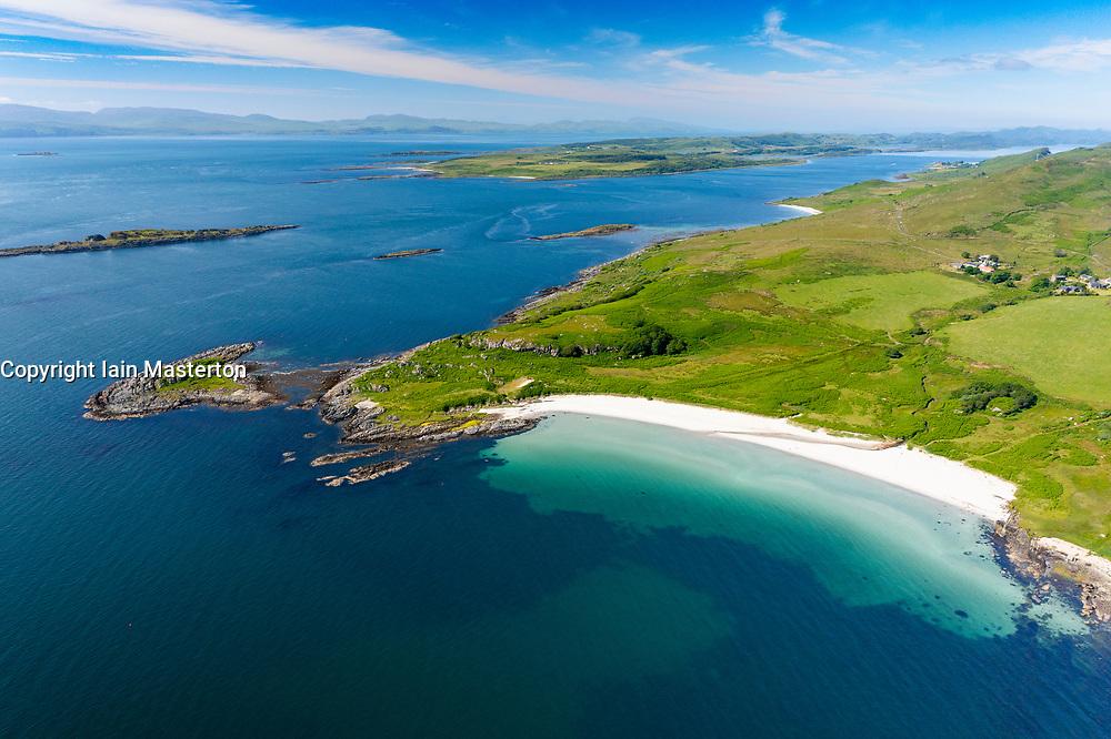 Aerial view form drone of Kilmory Beach on Kilmory Bay in Argyll & Bute, Scotland, UK
