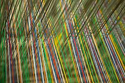 South America, Ecuador, Peguche, village of weavers near Otavalo, yarn on loom