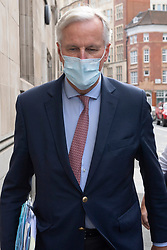 © Licensed to London News Pictures. 10/09/2020. London, UK. EU Chief Brexit negotiator Michel Barnier walks to the British Government's Department for Business, Energy and Industrial Strategy for a new round of negotiations between the UK and the EU begin. British Prime Minister Boris Johnson has threatened to overwrite parts of the EU withdrawal agreement signed with Brussels last October. Photo credit: London News Pictures