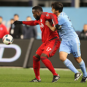 NEW YORK, NEW YORK - November 06:  Jozy Altidore #17 of Toronto FC is challenged by Andoni Iraola #51 of New York City FC during the NYCFC Vs Toronto FC MLS playoff game at Yankee Stadium on November 06, 2016 in New York City. (Photo by Tim Clayton/Corbis via Getty Images)
