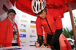Przemyslaw Niemiec of Poland (Miche - Silver Cross) signing the list before the start in 3rd stage of the 15th Tour de Slovenie from Skofja Loka to Krvavec (129,5 km), on June 13,2008, Slovenia. (Photo by Vid Ponikvar / Sportal Images)/ Sportida)