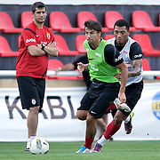 Galatasaray's players Colin Kazim RICHARDS (R) and Milan BAROS (C) during their training session at the Jupp Derwall training center in Istanbul Turkey on Thursday,  August 20, 2011. Photo by TURKPIX