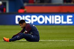 February 17, 2018 - Paris, France - Neymar Jr of Paris Saint-Germain reacts during the Ligue 1 match between Paris saint-Germain and Strasbourg at Parc des Princes on February 17, 2018 in Paris, France. (Credit Image: © Mehdi Taamallah/NurPhoto via ZUMA Press)