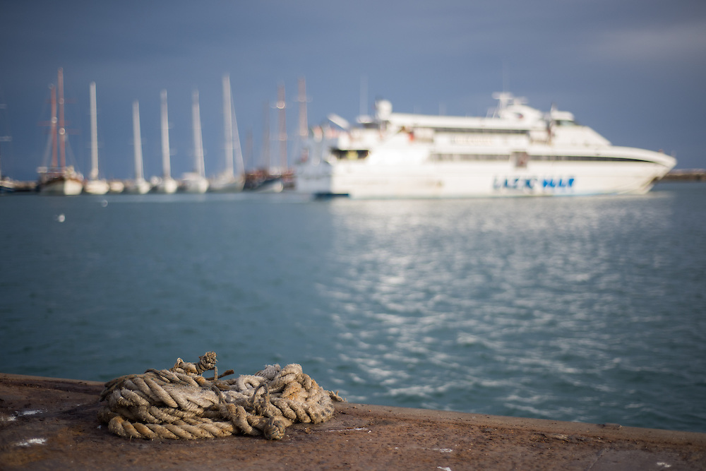Formia, Italy - 22 September 2014: ropes in the port of Formia where Laziomar hydroplanes depart for the Pontine Islands