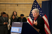 Mayor-Elect Bill de Blasio announces his appointment of Carmen Fariña, speaking, as Schools Chancellor at William Alexander Middle School in Park Slope, Brooklyn, NY on Monday, Dec. 30, 2013.<br /> <br /> CREDIT: Andrew Hinderaker for The Wall Street Journal<br /> SLUG: NYSTANDALONE