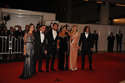 June 30, 2017 - Buenos Aires, Buenos Aires, Argentina - Barcelona F.C. fellow players Xavi Hernandez, Cesc Fabregas and Carles Puyol pose with their wives at the red carpet prior to Lionel Messi and long time sweetheart Antonella Roccuzzo's wedding party.The ceremony and party had over 250 guests that included his fellow Barcelona F.C. players, pop star Shakira, family and childhood friends. (Credit Image: © Patricio Murphy via ZUMA Wire)