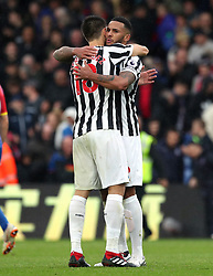 Newcastle United's Federico Fernandez (left) and Jamaal Lascelles hug at the end of the Premier League match at Selhurst Park, London.