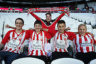 a Group of Accrington Stanley fans look on  before k/o. EFL Cup, 3rd round match, West Ham Utd v Accrington Stanley at the London Stadium, Queen Elizabeth Olympic Park in London on Wednesday 21st September 2016.<br /> pic by John Patrick Fletcher, Andrew Orchard sports photography.