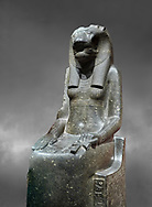 """Ancient Egyptian statue of goddess Sekhmet, grandodiorite, New Kingdom, 18th & 20thDynasty (1390-1150 BC), Thebes. Egyptian Museum, Turin. Grey Background.<br /> <br /> In this statue of Sekhmet the goddess is called """"mistress of Shenut"""" possibly linking her to the lioness goddess Repyt of Anthribis.  Sekhmet, """"the Powerful One"""" was a fearsome goddess symbolised by her lioness head. Daughter of the sun she personifies the disk of the world during the day. Sekhmet is the angry manifestation of Hathor inflicting the scourges of summer heat, famine and illness which is why the goddess needed to be exorcised every day. Drovetti Collection. C 248 .<br /> <br /> If you prefer to buy from our ALAMY PHOTO LIBRARY  Collection visit : https://www.alamy.com/portfolio/paul-williams-funkystock/ancient-egyptian-art-artefacts.html  . Type -   Turin   - into the LOWER SEARCH WITHIN GALLERY box. Refine search by adding background colour, subject etc<br /> <br /> Visit our ANCIENT WORLD PHOTO COLLECTIONS for more photos to download or buy as wall art prints https://funkystock.photoshelter.com/gallery-collection/Ancient-World-Art-Antiquities-Historic-Sites-Pictures-Images-of/C00006u26yqSkDOM"""