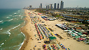 Aerial Photography of the Coastline of Rishon LeZion in central Israel. Looking North Bat Yam in the background