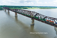 63807-01110 Freight train on Union Pacific railroad crossing the Mississippi river on the Thebes bridge Thebes, IL