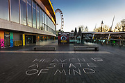 Heaven is a state of mind chalked onto the walkway of the Southbank centre, deserted at 7.30pm Saturday night during the Coronavirus pandemic on 4th April 2020 in London, United Kingdom. The government clampdown includes the closure of most shops, bars and theatres throughout the country.