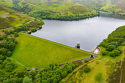 Aerial view of Hopes reservoir in East Lothian. Scotland, UK.