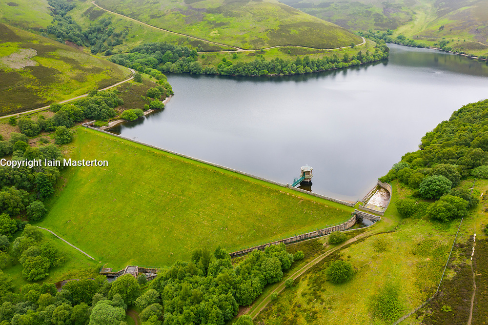 Aerial view of Hopes reservoir in East Lothian. Scotland, UK.
