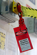 Safety shut off tag.<br />  <br /> Larger JPEG + TIFF images available by contacting use through our contact page at : www.effectiveworkingimage.com
