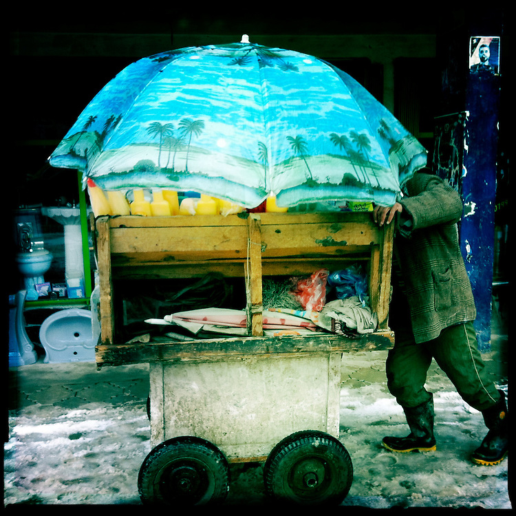 A street vendor with a tropical scene on his umbrella on a snowy day.