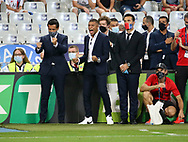 Kylian Mbappe of PSG celebrates a goal for PSG during the penalty shootout of the French Ligue Cup final match between Paris Saint-Germain (PSG) and Olympique Lyonnais (OL, Lyon) on July 31, 2020 at the Stade de France, in Saint-Denis, near Paris, France - Photo Juan Soliz / ProSportsImages / DPPI