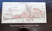 Public display of old historic images about the GWR works, Swindon, Wiltshire, England, UK Great Western Railway Works map 1940s