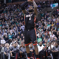 01 April 2012: Miami Heat small forward LeBron James (6) takes a jumpshot during the Boston Celtics 91-72 victory over the Miami Heat at the TD Banknorth Garden, Boston, Massachusetts, USA. NOTE TO USER: User expressly acknowledges and agrees that, by downloading and or using this photograph, User is consenting to the terms and conditions of the Getty Images License Agreement. Mandatory Credit: 2012 NBAE (Photo by Chris Elise/NBAE via Getty Images)