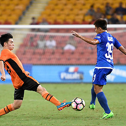 BRISBANE, AUSTRALIA - JANUARY 31: Paolo Bugas of Global FC is tackled by Joey Caletti of the roar during the second qualifying round of the Asian Champions League match between the Brisbane Roar and Global FC at Suncorp Stadium on January 31, 2017 in Brisbane, Australia. (Photo by Patrick Kearney/Brisbane Roar)