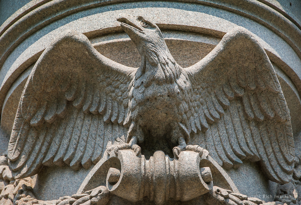 Close up view of American eagle carving on base of General Winfield Scott Hancock statue, Market Square,  Washington, DC