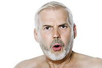 caucasian man portrait angry isolated studio on white background
